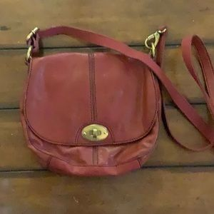 Burgundy leather Fossil cross body bag